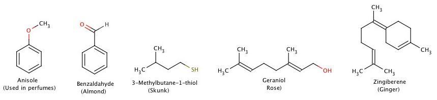 Examples of odor molecules.
