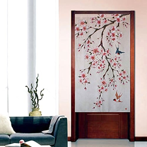 A Japanese style door curtain with plum blossoms. Image credit: Amazon.com.