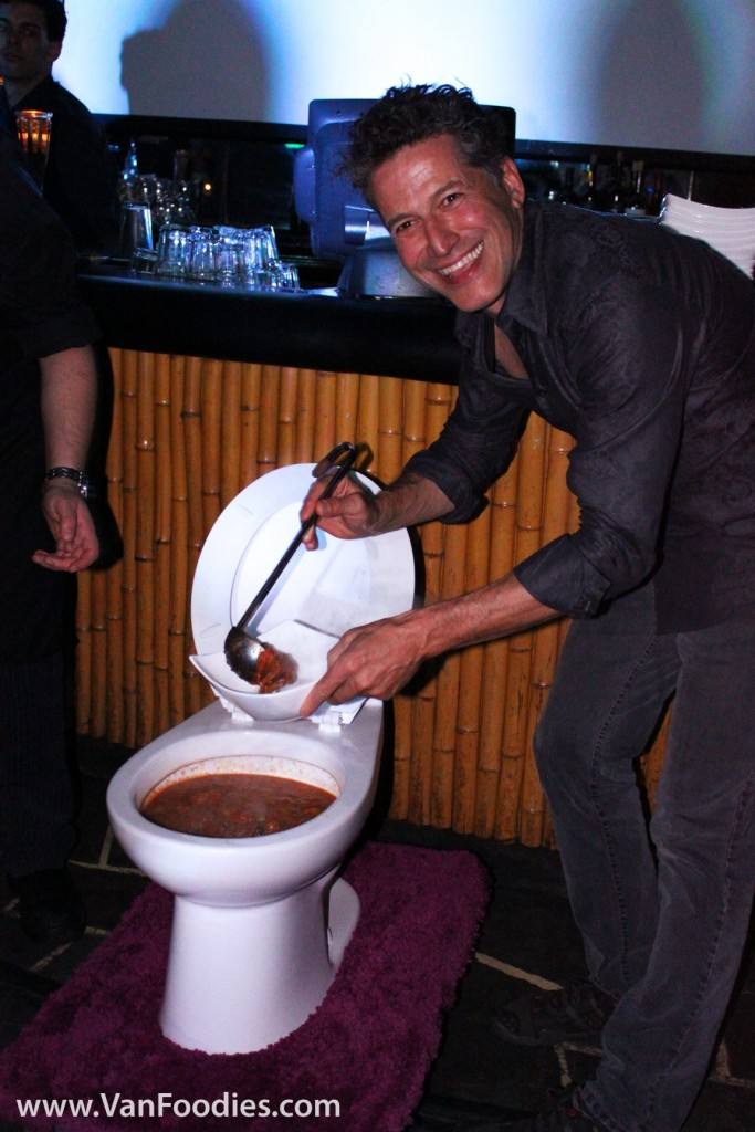 Serving food out of real-size toilet bowl