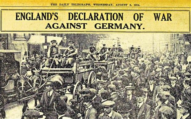 World War 1 started in 1914. Image credit: Telegraph.co.uk
