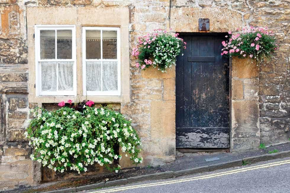 This Poorly Maintained Front Door Is Balanced With Beautiful Flowers