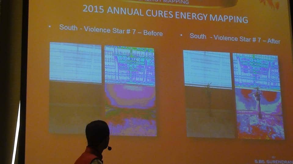 The aura and energy mapping of plants – the before and after of using plants to cure Feng Shui's Violence Star.