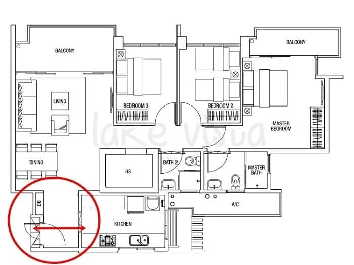 Gentil In This Floor Plan, The Front Door Directly Faces The Kitchen And Is Not A  Good Feng Shui Setup. Image Credit: Feng Shui Master Pte Ltd